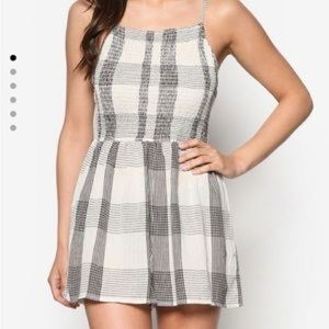 TopShop Black and White Plaid Stretch Romper